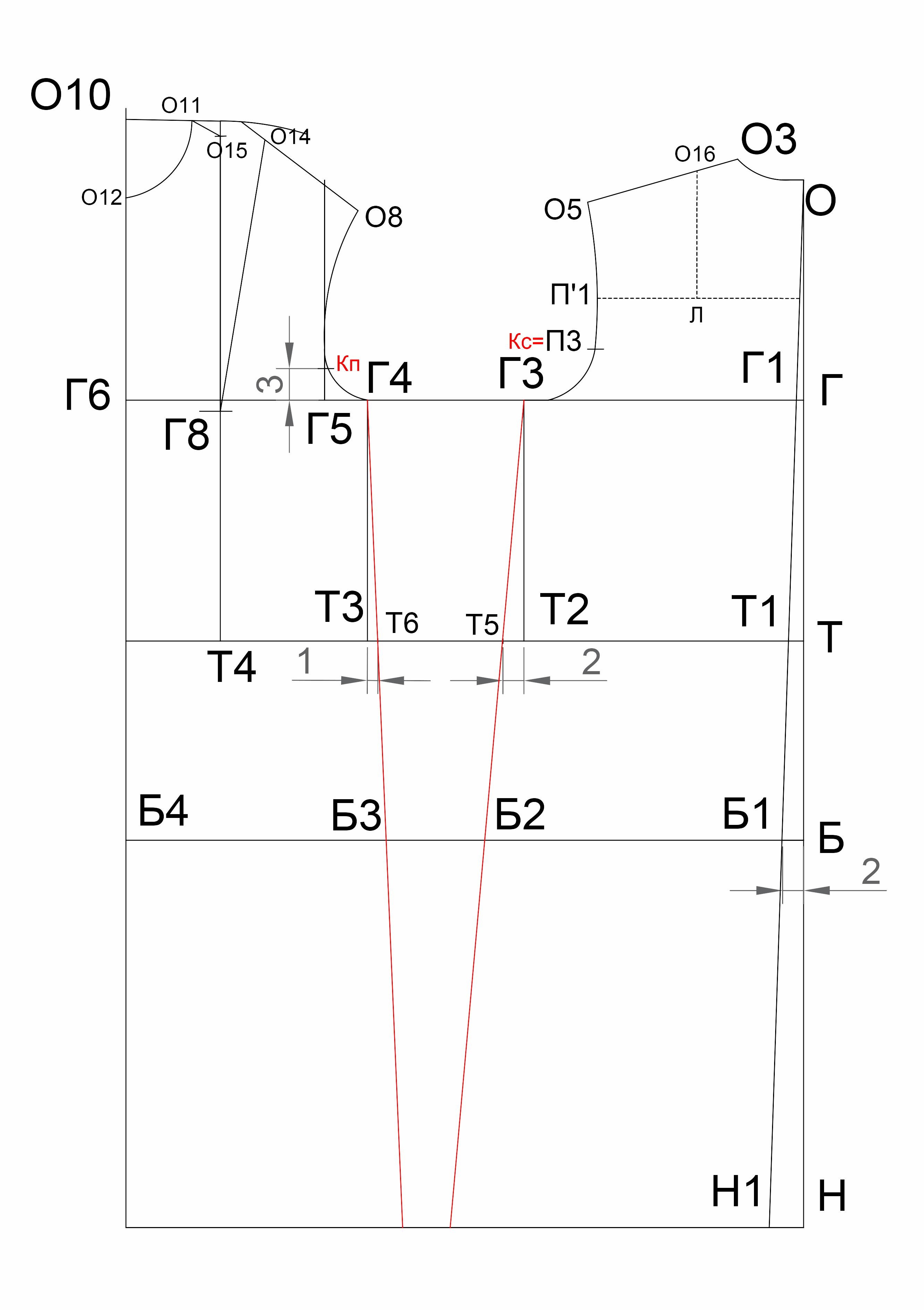 f9abe6e8ee5 Линия низа. Из точки Н1 строим перпендикуляр к линии середины спинки