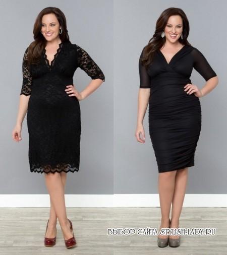 94b3f5c5eb2c3ca Маленькое черное платье для полных: фасоны и модели, фото. На этом коллаже  – 2 коктейльных платья ...